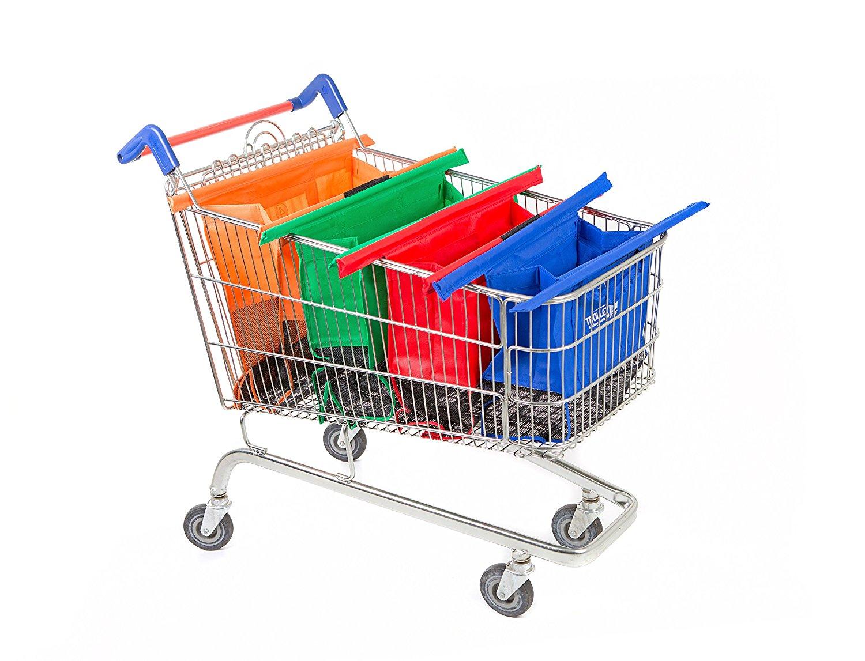 1pcs Reusable Oxford Fabric Shopping Bag On Wheels Bags